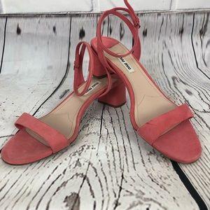 MIU MIU Pink Suede Ankle Strap Sandal sz 8